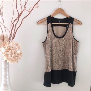Eileen Fisher Beaded Tank   Nude and Black, XS